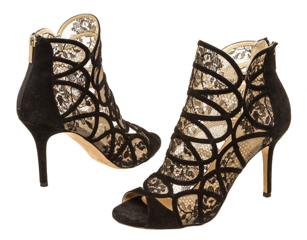 Jimmy Choo Black Fonda Lace-Suede Cage Sandal Pumps Size 38.5