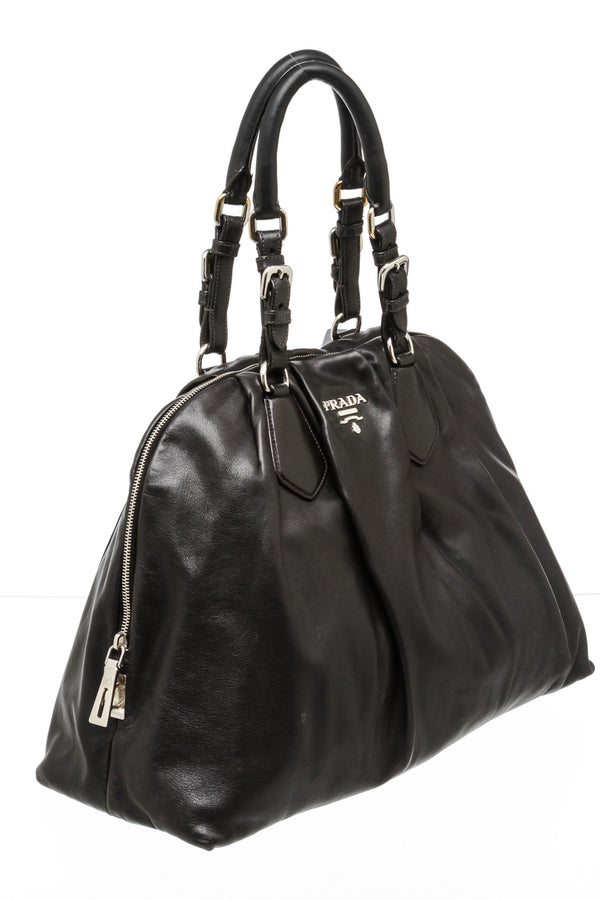 Prada Black Leather Buckle Pleated Satchel Bag