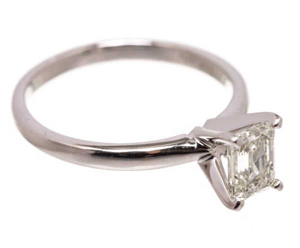 Custom White Gold Diamond Solitaire Ring Size 6.5