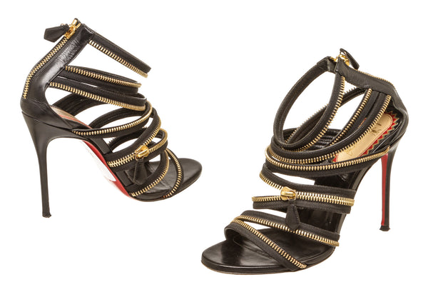 Christian Louboutin Black Gold Zipper Strappy Sandal Heels Size 37