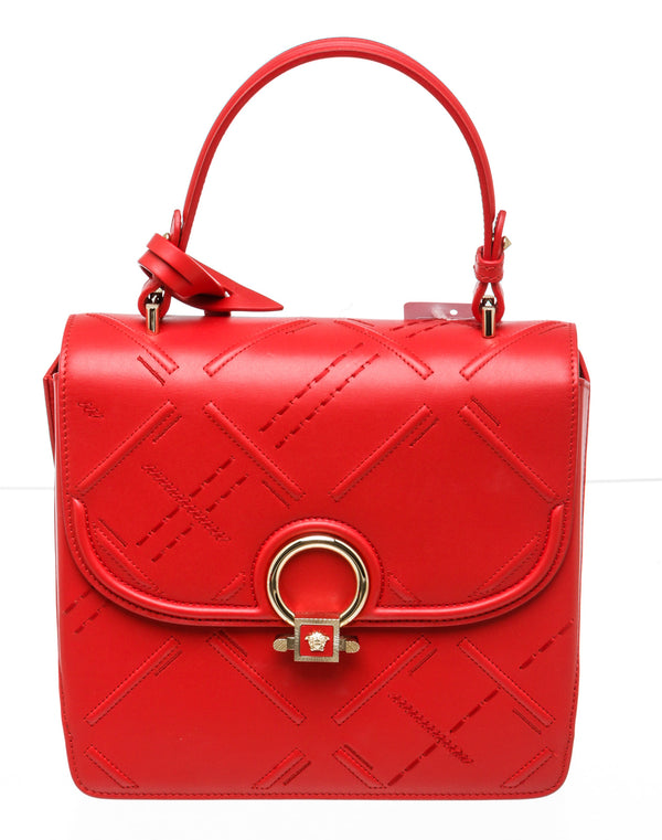 Versace Red Leather DV One Satchel Medium Handbag