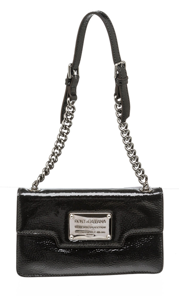 Dolce & Gabbana Black Patent Leather Miss Belle Amie Bag