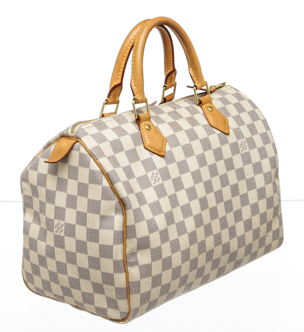 Louis Vuitton Cream and Blue Damier Azur Speedy 30 Bag