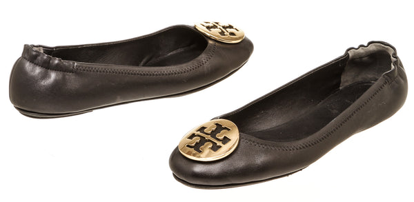 Tory Burch Black Leather Minnie Travel Ballet Flats Size 9