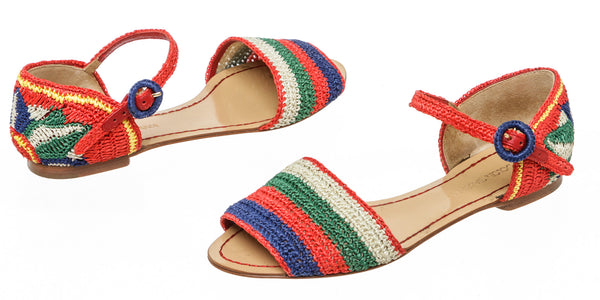 Dolce & Gabbana Multicolor Raffia Stripe And Flower Sandals Size 36