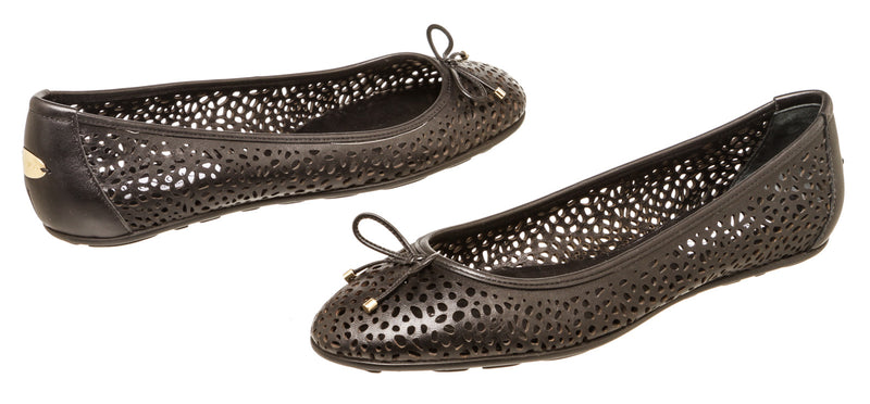 Jimmy Choo Black Leather Walsh Perforated Ballet Flats Size 41