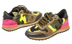 Valentino Multi-color Suede And Leather Camo-Print Low-Top Sneakers Size 35