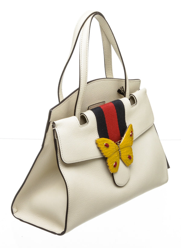 Gucci Cream Leather Web Linea Butterfly Totem Bag Medium