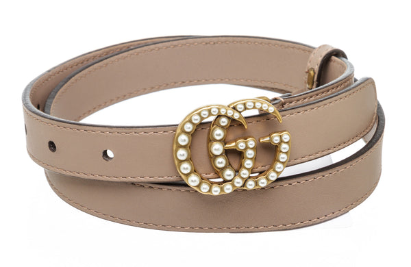 Gucci Dusty Pink Leather Pearl Double GG Belt Size 70