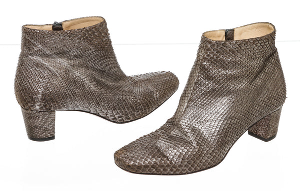 Christian Louboutin Silver Gray Metallic Water-snake Booties Size 36.5