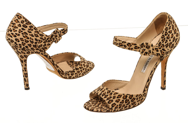 Manolo Blahnik Brown And Cream Leopard-Print Suede Sandals Size 38.5