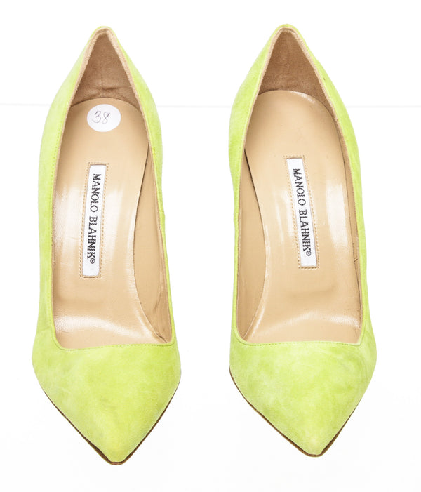 Manolo Blahnik Lime Green BB Suede Pointed-Toe Pump NEW Size 38