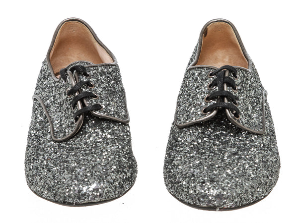 Miu Miu Metallic Silver Glitter Oxfords Shoes Size 36