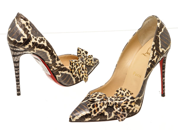 Christian Louboutin Black Brown Madame Menodo Water-snake 100mm Pumps Size 37
