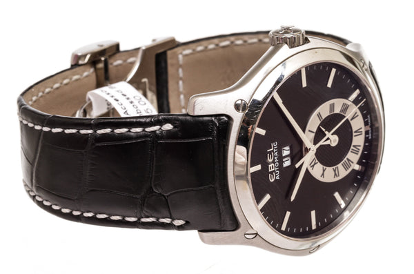 Men's Ebel Classic Hexagon GMT Leather Strap Automatic  Watch