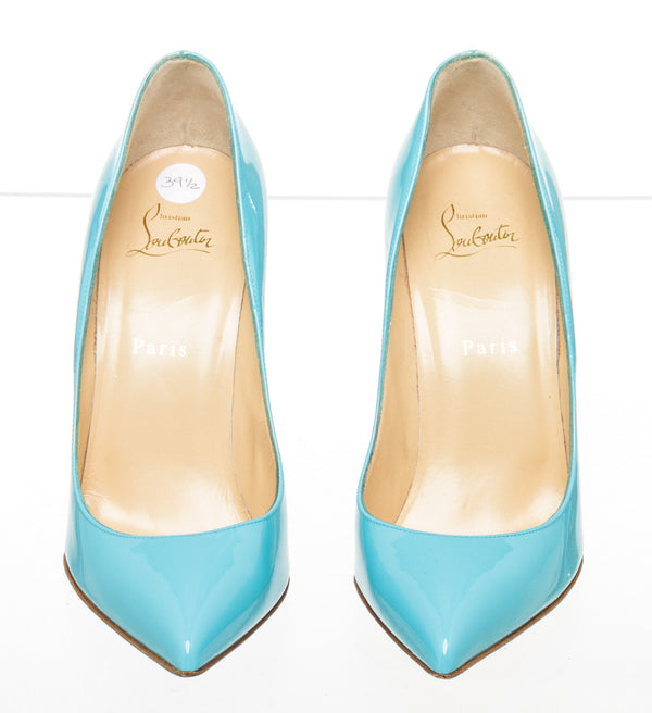 Christian Louboutin Turquoise Patent Pigalle Follies 100mm Pumps Size 39.5