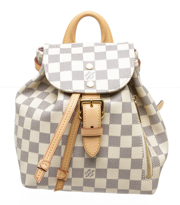 Louis Vuitton Cream and Blue Damier Azur Sperone Backpack BB Bag