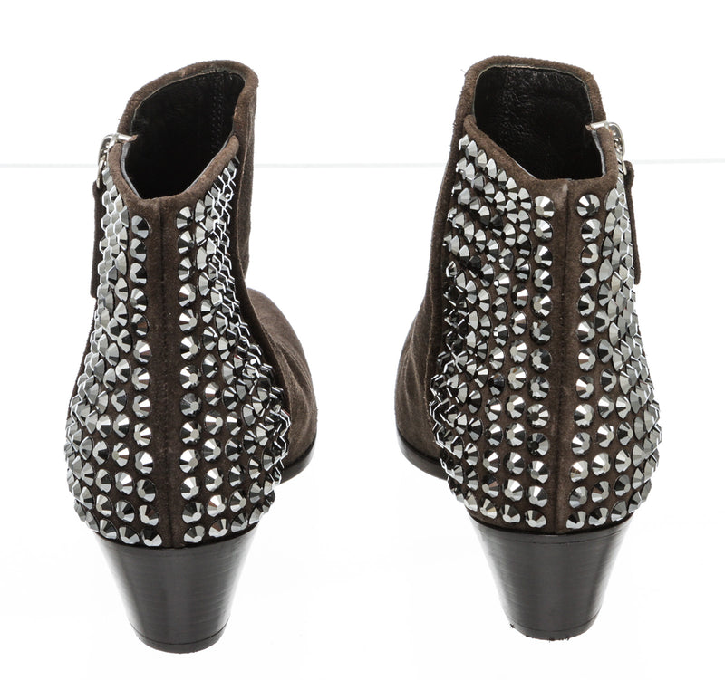 Giuseppe Zanotti Brown Suede Stud Booties Size 36