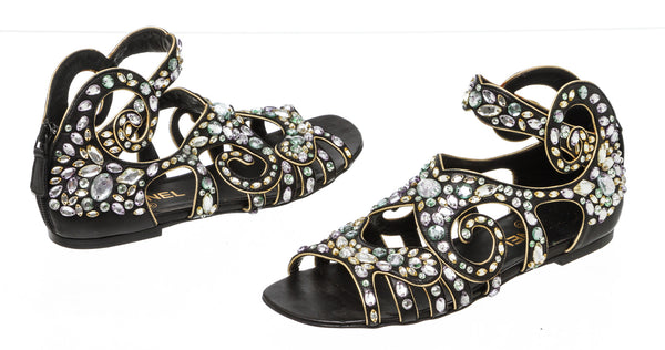 Chanel Black Leather Crystal-embellished Gladiator Sandals Size 37.5