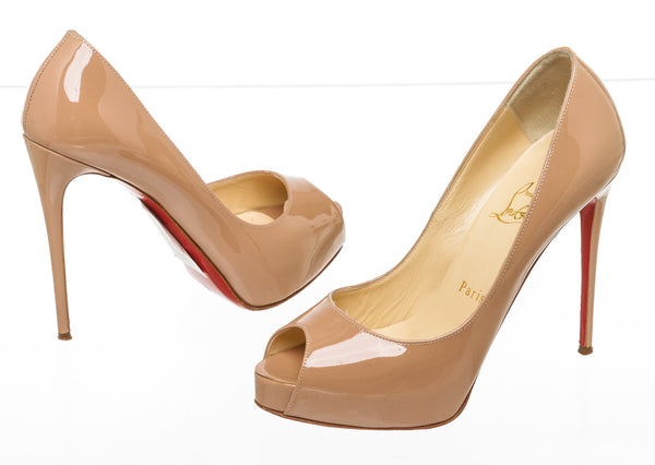 Christian Louboutin Nude Patent Very Prive Peep Toe 120 Pumps Size 36.5