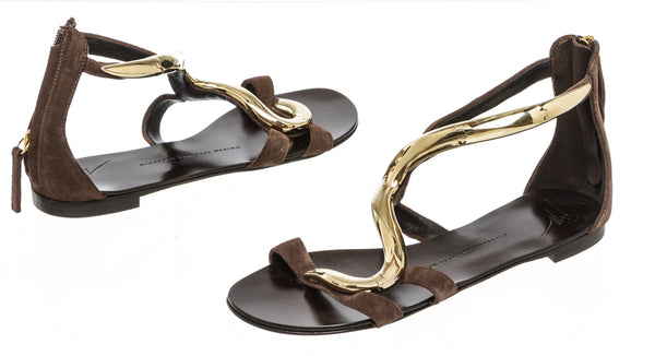 Giuseppe Zanotti Brown Suede and Gold Wave Flat Sandals Size 36 NEW