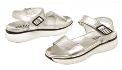 Prada Sport Silver Leather Sandals Size 37.5