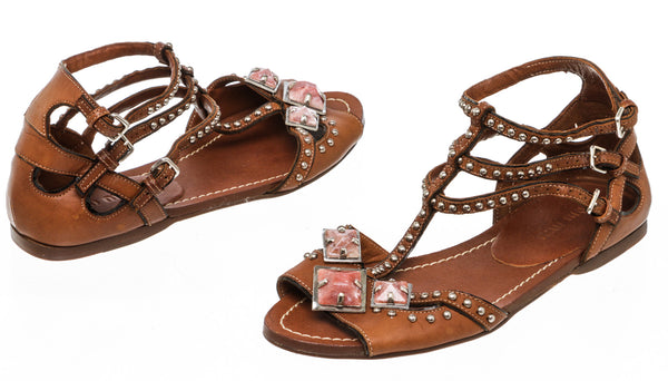 Miu Miu Brown Leather Embellished Gladiator Sandal Flats Size 35