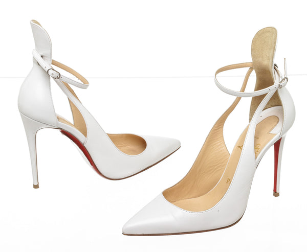Christian Louboutin White Leather Mascara 100 Point Toe Pumps Size 35.5