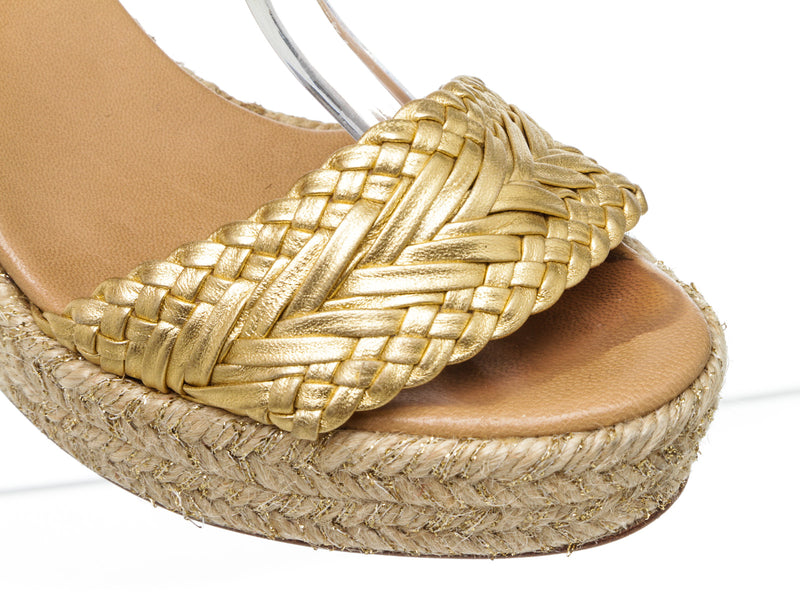 Hermes Metallic Gold Braided Patent Leather Sofia Espadrille Wedges Size 36