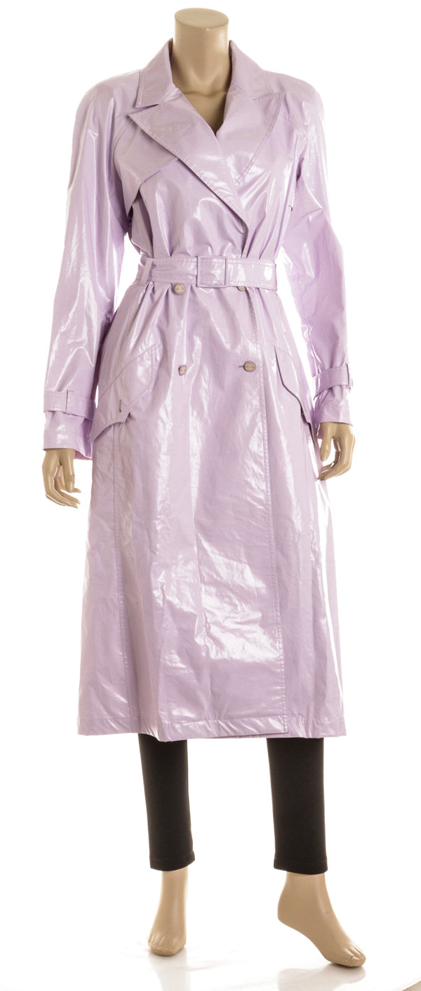 Chanel Lavender Belted Camellia 2003 Trench Raincoat Size 40