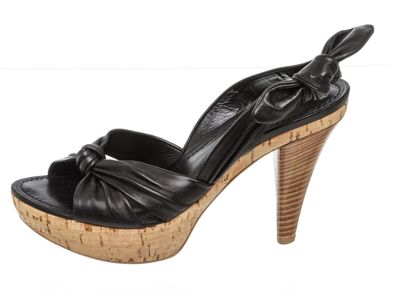 Louis Vuitton Black Leather Porto Cervo Cork Platform Sandal Size 36.5 NEW