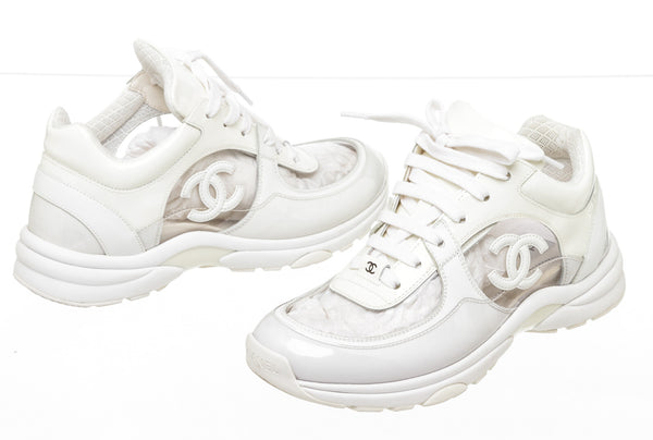 Chanel White Patent Leather Transparent CC PVC Trainers Sneakers Size 36.5