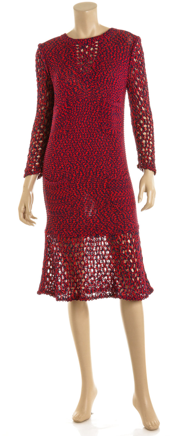 Chanel Red And Blue Long Sleeve Knit Dress NEW Size 36