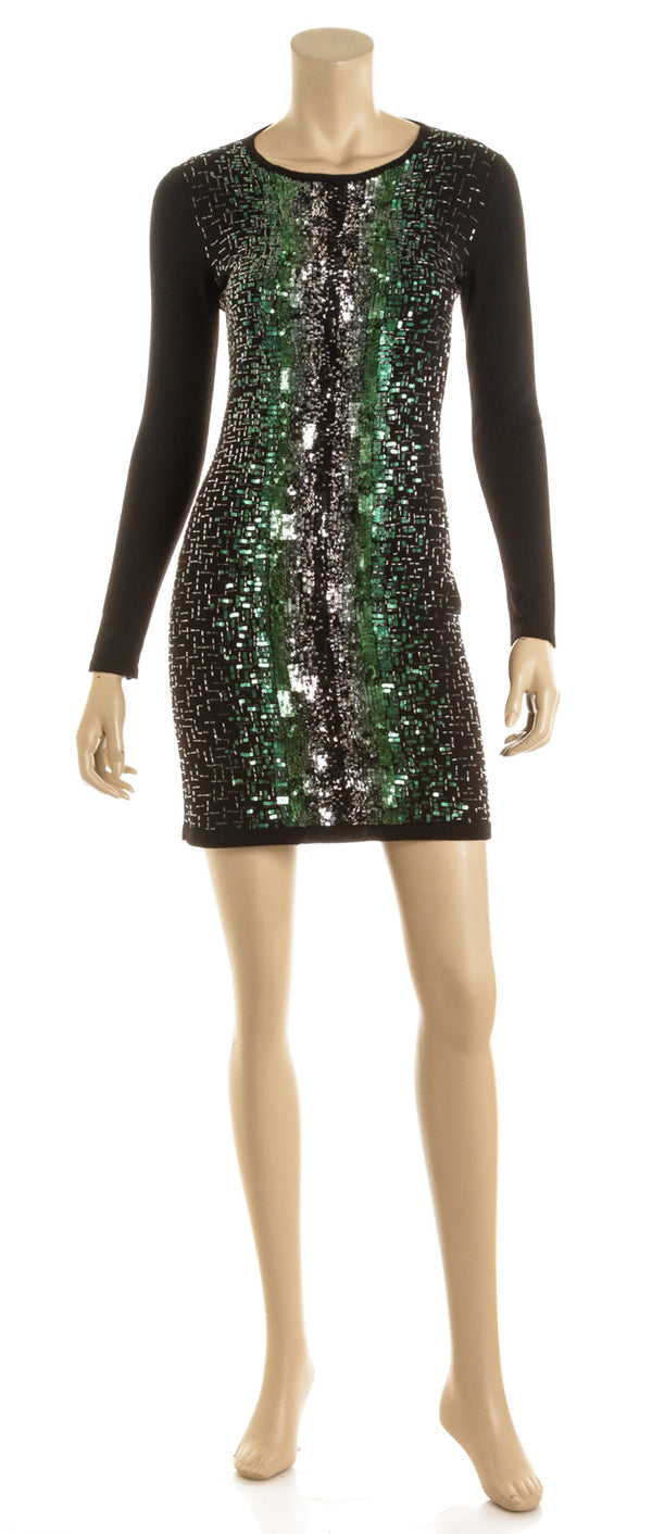 Oscar De La Renta Black And Green Sequined Mini Dress Size XS