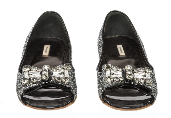 Miu Miu Silver Leather Glitter Crystals Jeweled Bow Ballet Flats Size 36
