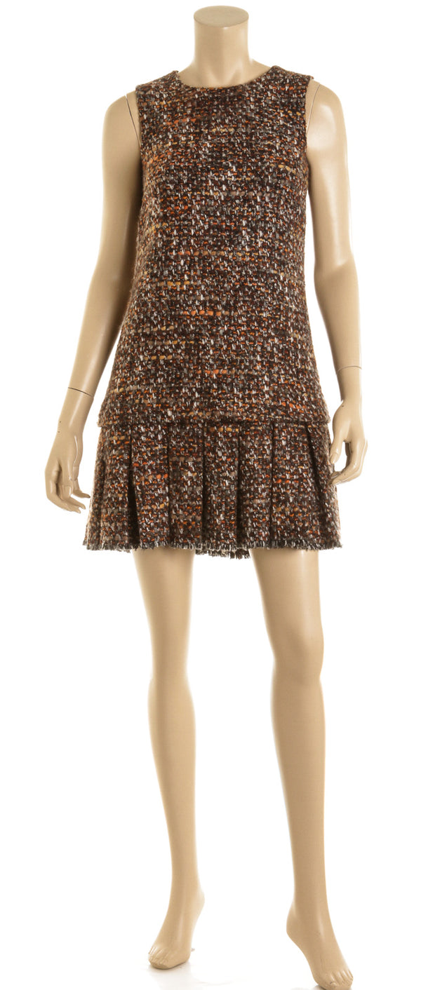 Dolce & Gabbana Brown Multi Tweed Boucle Pleated Dress Size 38