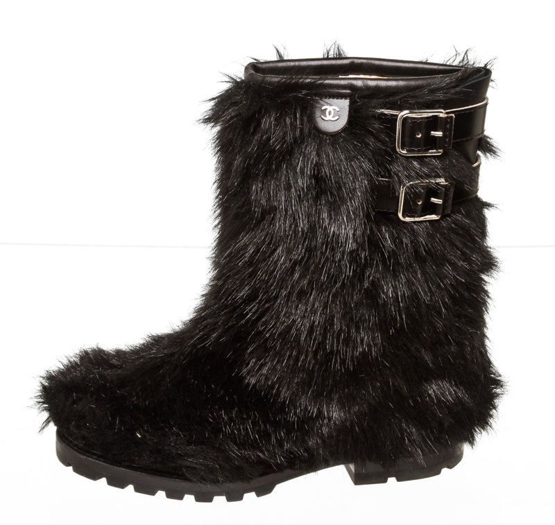 Chanel Black Faux Fur CC Mid-Calf Boots Size 37