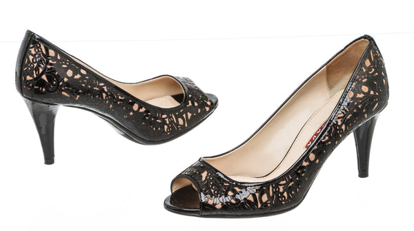 Prada Black Patent Leather Laser Cut Floral Peep Toe Pumps Size 36.5
