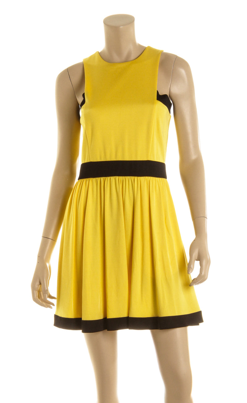 Balmain Yellow And Black Silk A-Line Mini Pleated Dress Size 38