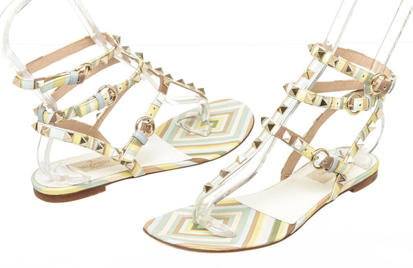 Valentino Garavani Multi-color Leather Native Rockstud sandals GHW Size 37