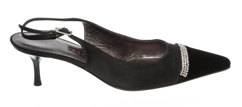 Escada Black Velvet And Satin Pointed Toe Slingback Pump Size 36