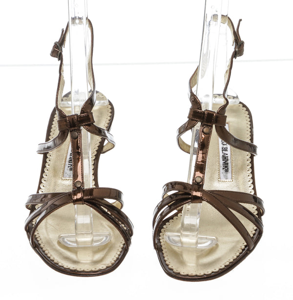 Manolo Blahniks Bronze Patent Kitten Crisscross Danae Sandals Size 36.5 NEW