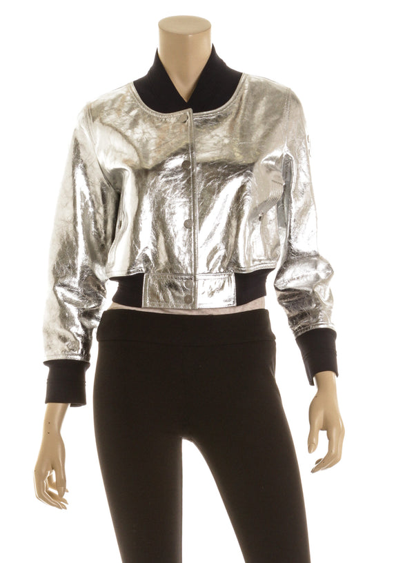 Chanel Metallic Silver And Navy Leather Bomber Jacket Size 36