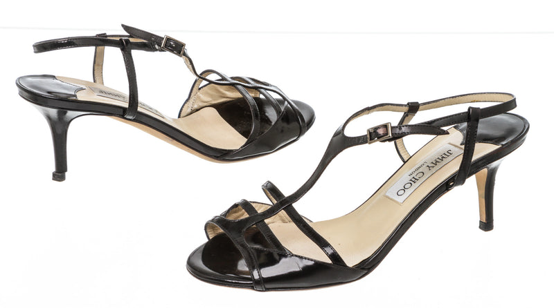Jimmy Choo Black Patent Leather T-Strap Sandals Size 36.5
