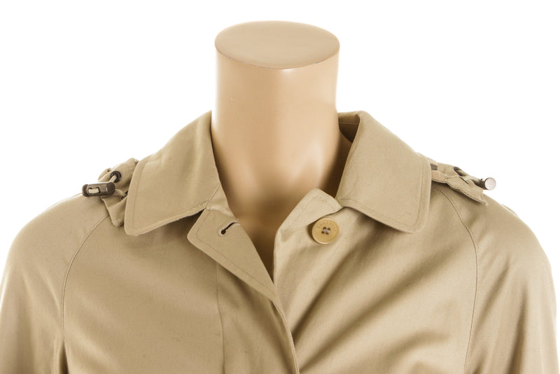 Burberry Beige Cotton Trench Coat With Detachable Hood Size M