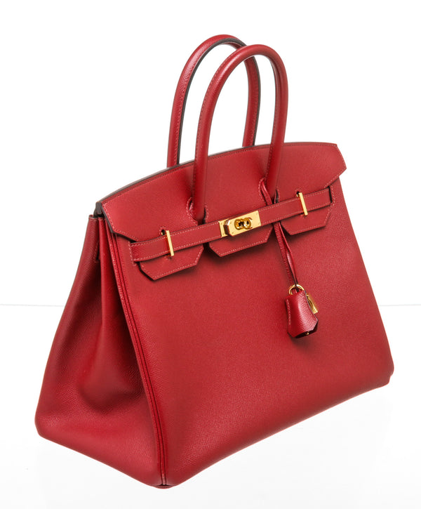 Hermes 35cm Red Epsom Leather Birkin