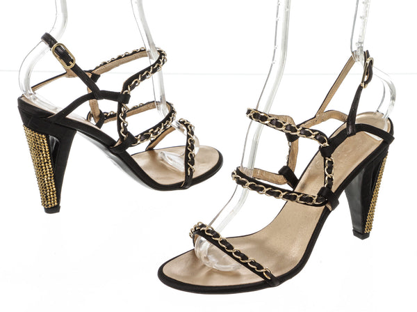 Chanel Black Leather Signature Chainlink Strappy High Heel Sandal GHW New Size 37