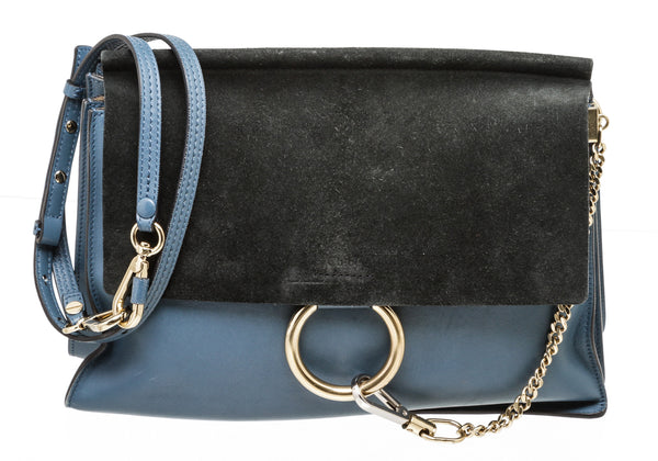 Chloe Suede Green and Blue Medium Faye Bag