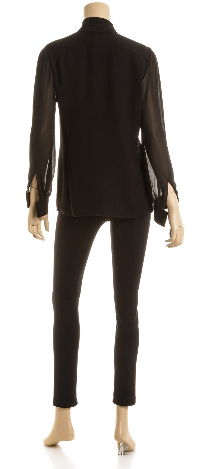 Yves saint Laurent Black Silk Sheer Blouse Size S/M