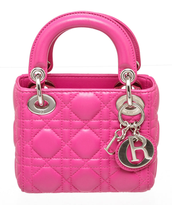 Christian Dior Lambskin Cannage Hot Pink Mini Lady Dior
